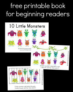 Free Printable Book for Early Readers: Ten Little Monsters