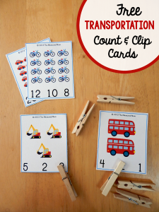 Free Transportation Printable: Transportation Count & Clip Cards #1-20