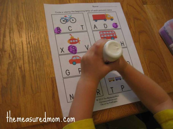 child stamping transportation worksheets