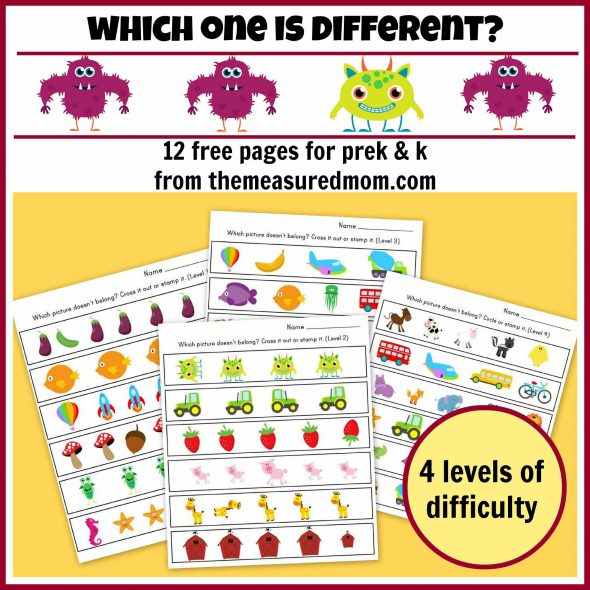 which one is different - 12 free pages for preK and K - the measured mom112