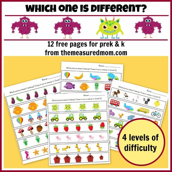 Which one is different - worksheets for preschool and kindergarten ...