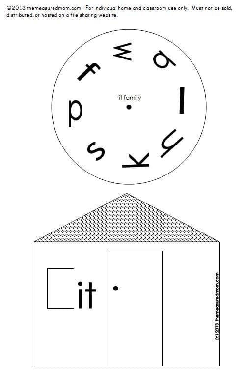 Looking for a short i word family activity? Print and assemble these hands-on word family houses!