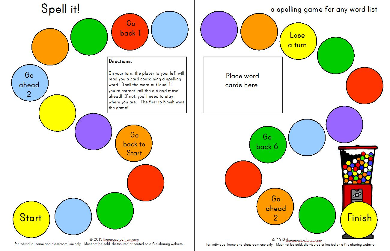 Here's a free printable spelling game you can use for any word list! It's designed for kids in grades K-3.