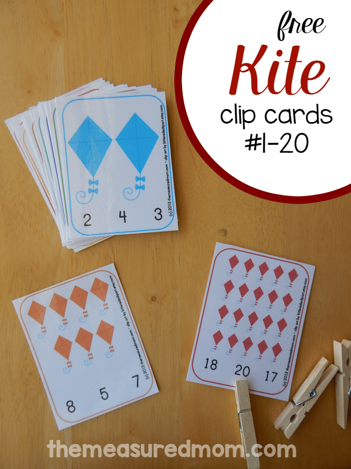 Looking for a kite printable for preschool? Print these colorful clip cards for practice counting from 1-20.
