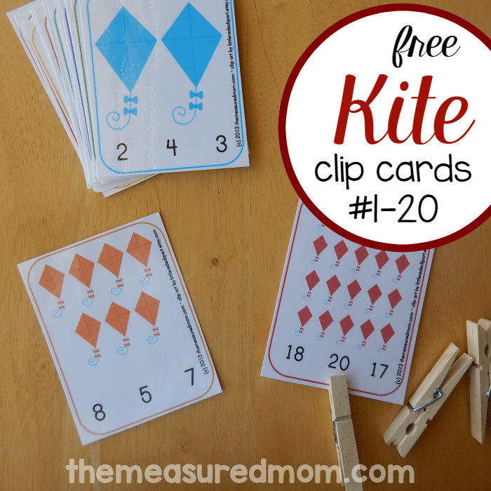 Kite Printable: Count & Clip Cards #1-20 - The Measured Mom