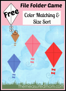 Free file folder game for preschoolers: Kites!