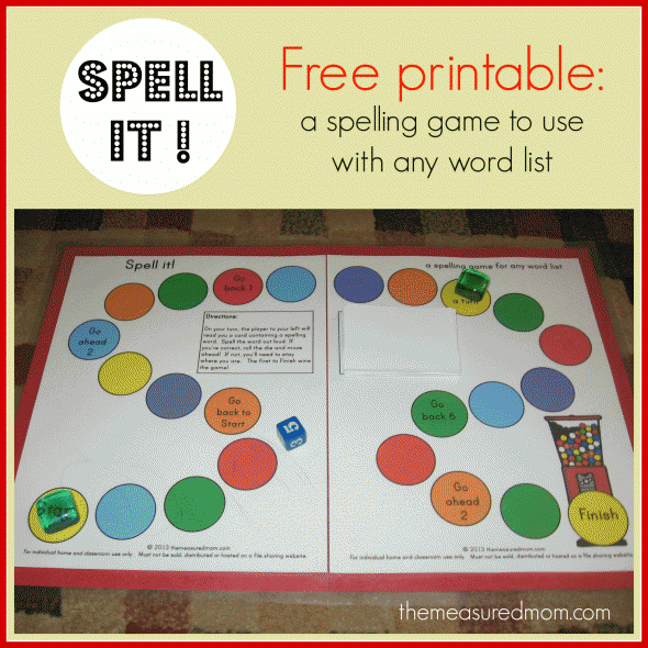 Spell it! - a printable spelling game for any word list (K ...