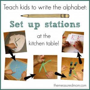 Teach kids to write the alphabet – set up stations at the kitchen table!