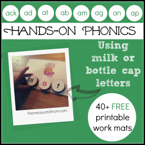 Hands-on Phonics for Kids: Spell with milk cap letters (short a word family printables)