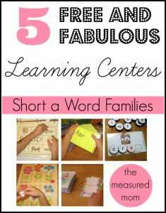 5 free word family activities for short a
