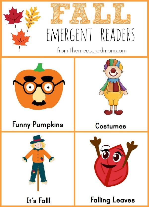 You'll love these four FREE fall emergent readers from The Measured Mom!