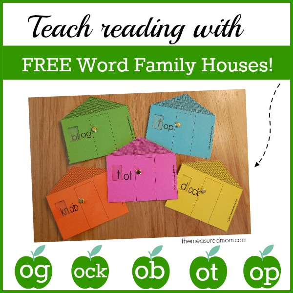 Visit The Measured Mom for five free word family houses for short o!
