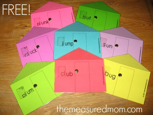 Here's our final set of free word family houses for the short vowels -- get 8 free houses for short u!