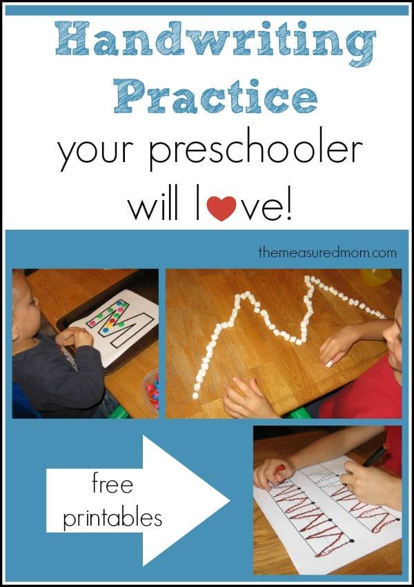 handwriting practice for preschoolers - the measured mom