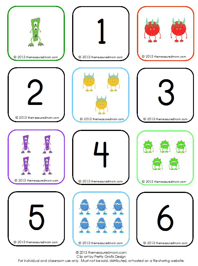 Learn To Count Groups 1 10 Free Monster Memory Game on Number Bingo 1 10 Printable