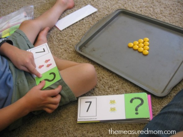 Teach missing addends with monster flip cards!