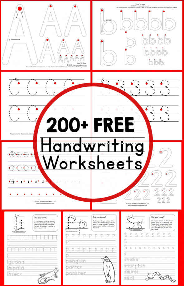 Teaching Handwriting The Measured Mom – Free Printing Worksheets