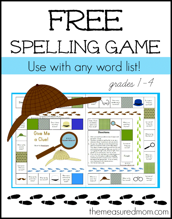 Get this free spelling game for kids in grades 1-4. Use with any word list!