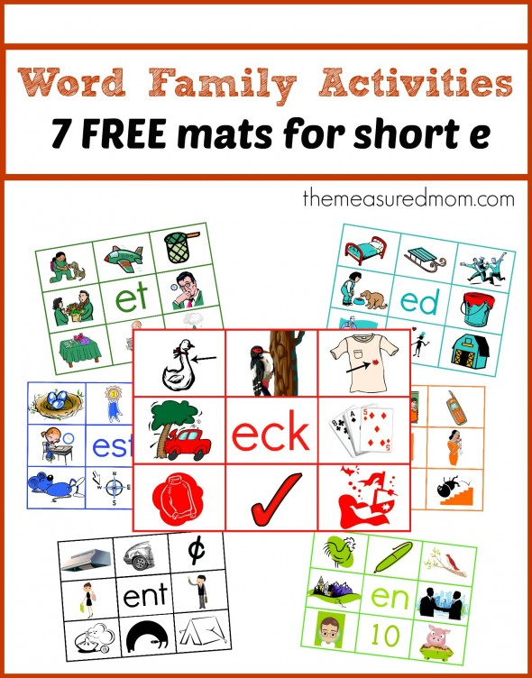 You'll find 7 free word family activities in this post - 7 read 'n stick mats for short e!