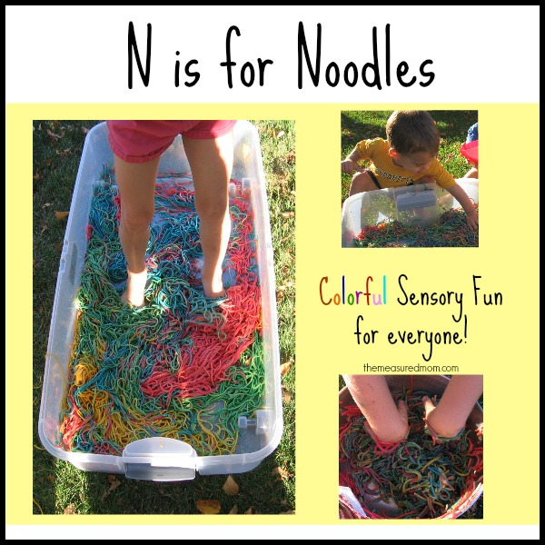 N is for Noodles sensory play - the measured mom