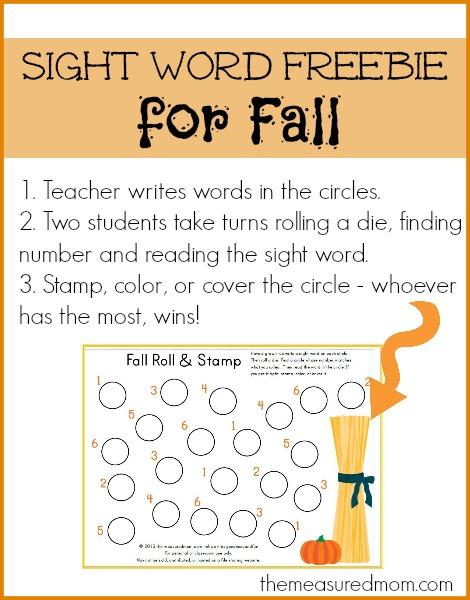 fall sight word freebie - the measured mom
