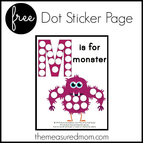 image regarding Letter M Printable identify Dot Sticker Website page - Letter M Printable - The Calculated Mother