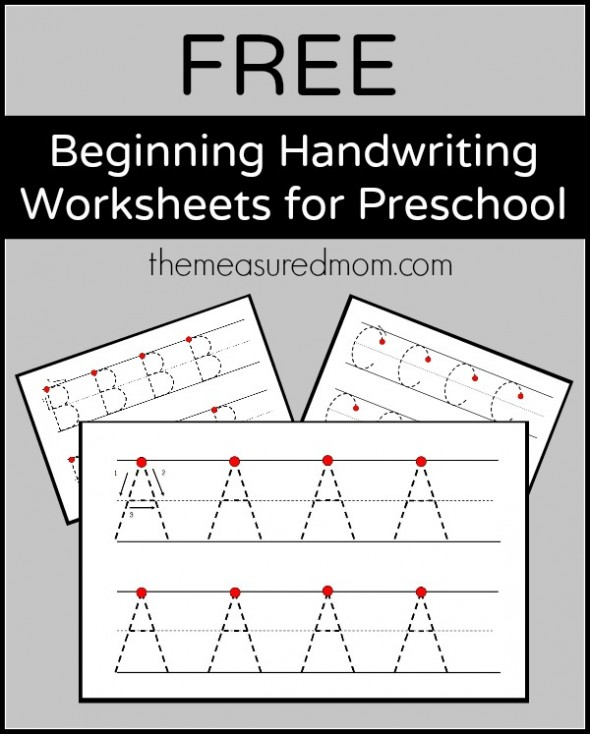 Free Beginning Handwriting Worksheets For Preschool The Measured Mom
