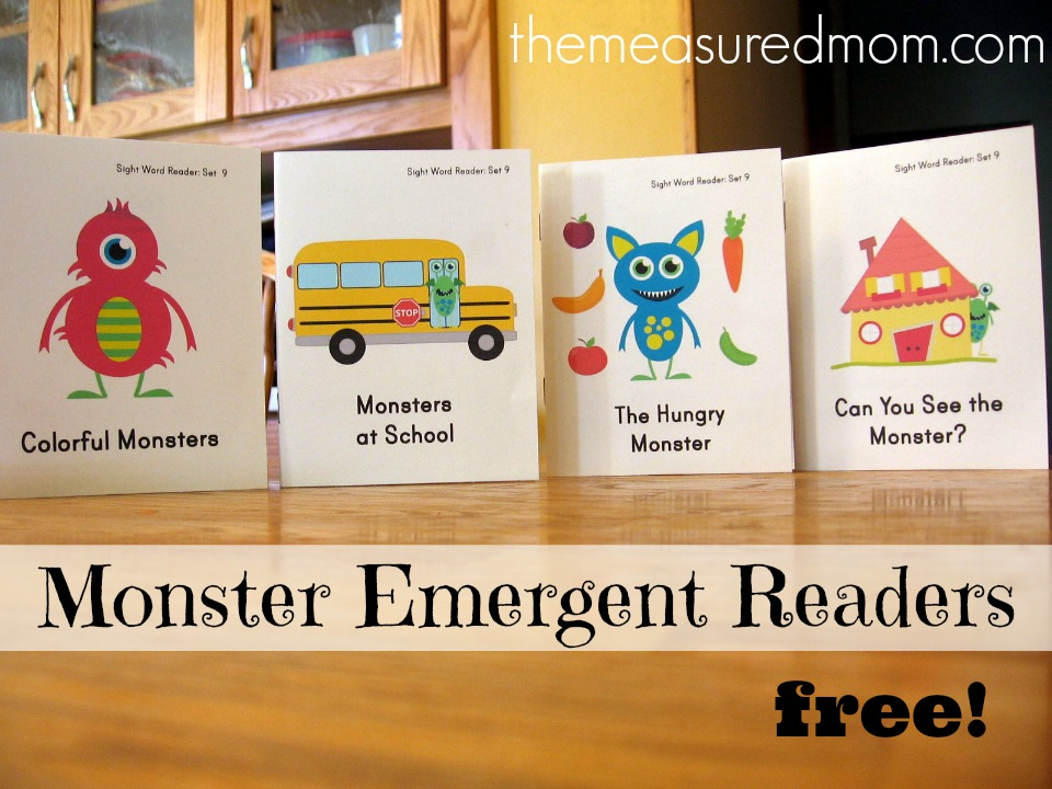 Looking for monster books for kids? Print these four FREE emergent readers!