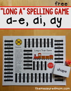 Long a spelling patterns – free printable game!