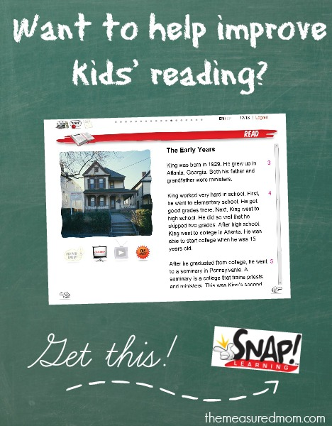 help improve kids' reading with SNAP! Learning - the measured mom