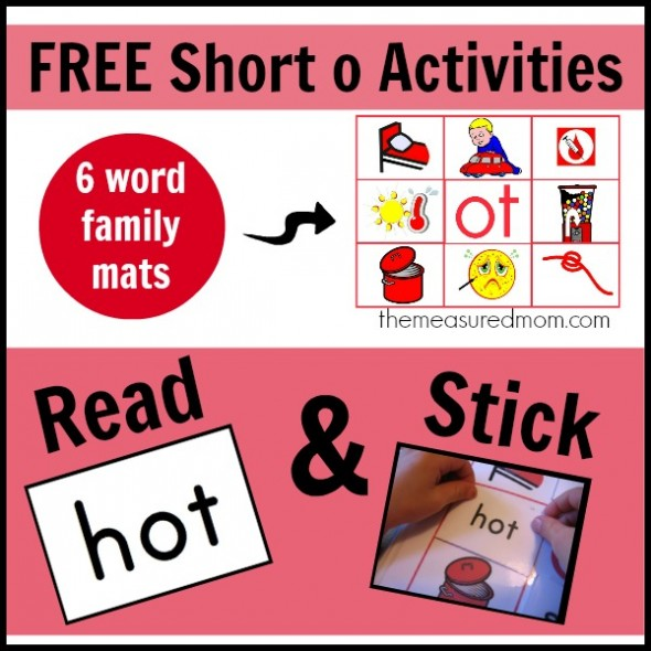 5 Free Short O Activities More Read N Stick Mats The Measured Mom