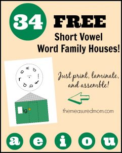 Check out this giant set of 34 FREE short vowel word family houses!