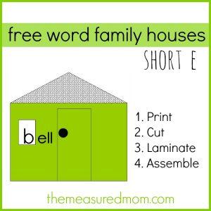 Free Word Family Houses – Short e