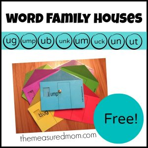 Free Word Family Houses – short u