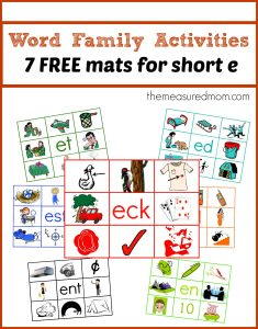 Word Family Activities — Free Read 'n Stick Mats for Short e
