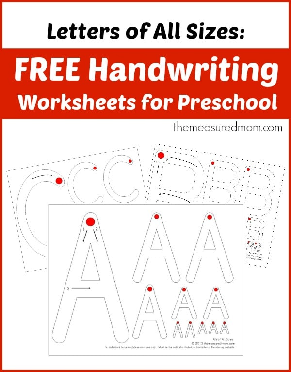 letter size free handwriting worksheets for preschool letters of all 23142 | Free handwriting worksheets for preschool letters of all sizes the measured mom