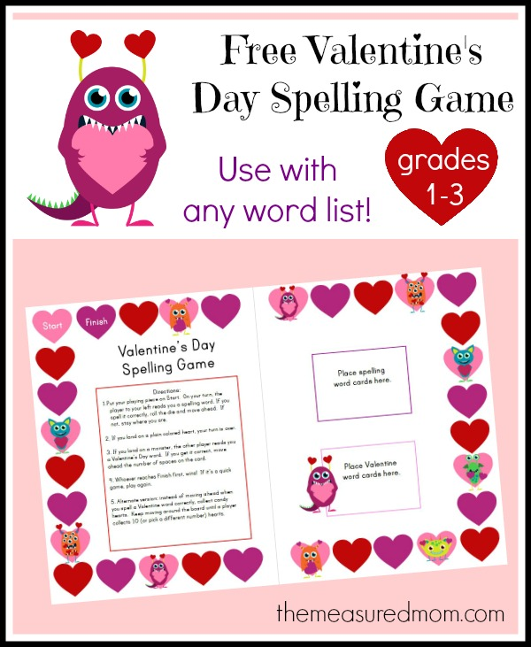 Free Valentine S Day Spelling Game The Measured Mom