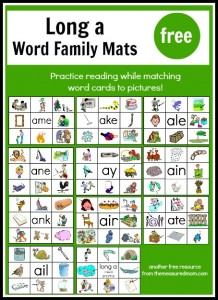 Long Vowel Printables: Read 'n Stick Mats for Long a