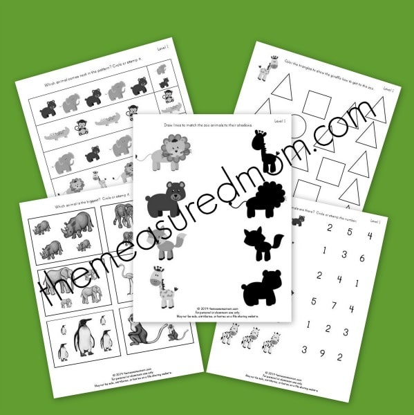 level 1 zoo worksheets - the measured mom