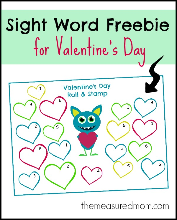 Free Valentines Day Sight Word Activity Roll  Stamp  The