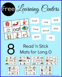 Long o word families – 8 free read 'n stick mats!