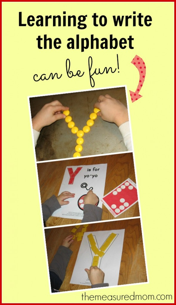learning to write the alphabet (letter Y) - the measured mom
