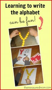 Making handwriting practice fun – the letter Y