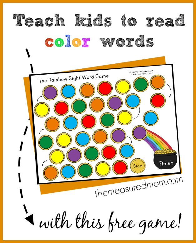 Teach kids to read color words with this free printable game just right for kids