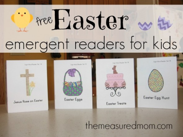 Get your set of four FREE Easter emergent readers at The Measured Mom!