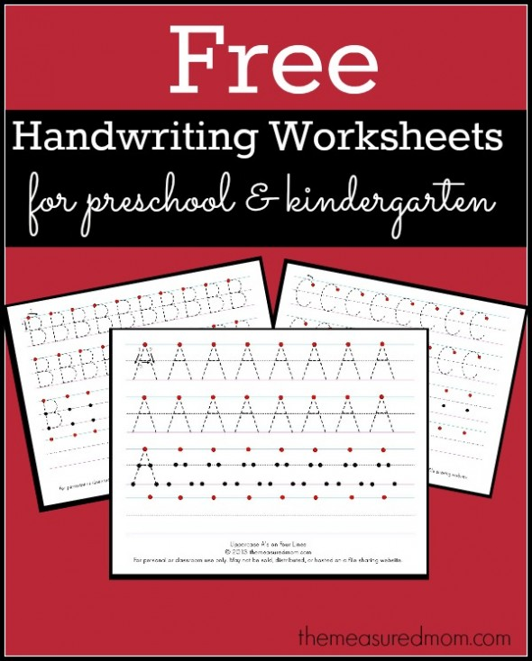 Get this set of free printable handwriting worksheets for preschool and kindergarten!