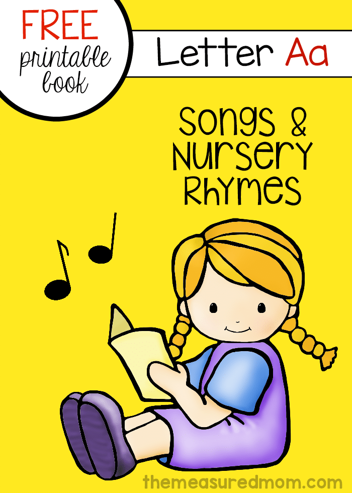 If you're looking for rhymes for preschoolers, check out this FREE letter book collection -- each book has 6 rhymes or songs for a particular letter of the alphabet. Here's letter A!