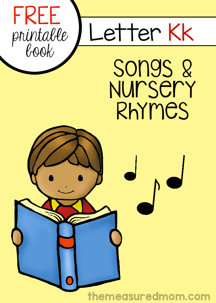 Print this free mini-book for six rhymes for letter K!