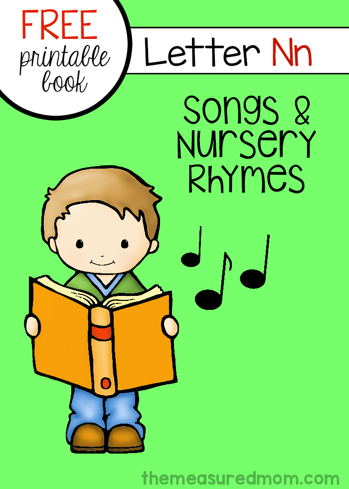 Print your free letter book of rhymes and songs for letter N!