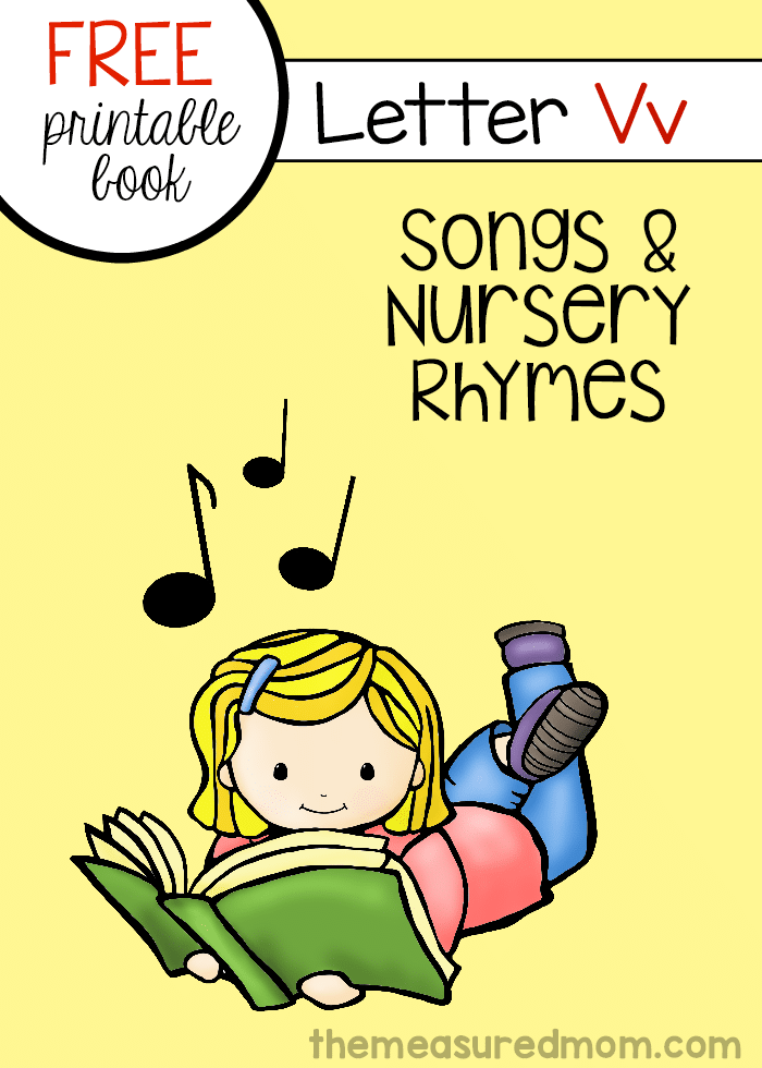 Print this free mini-book full of rhymes for letter V!